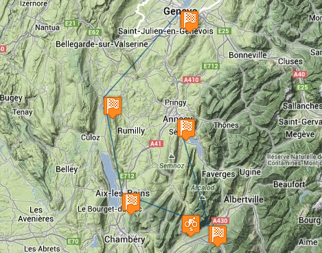Cyclomundo Geneva to Annecy map