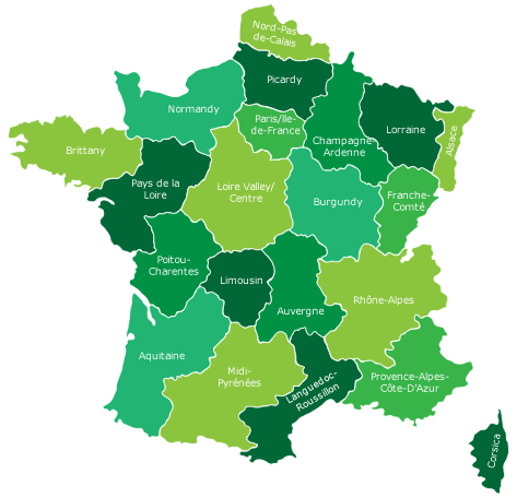 Regional Map Of France In English.Bike Routes In France Freewheeling France