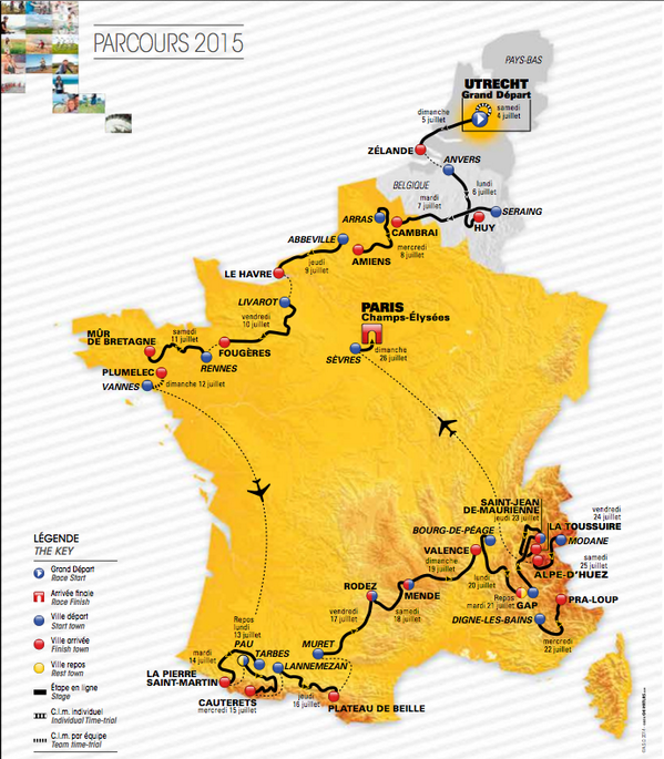 The 2015 Tour de France route.