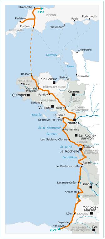 Hendaye France Map.La Velodyssee Bike Route Freewheeling France