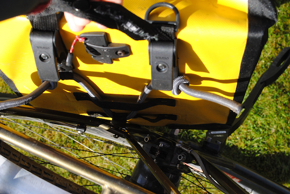 Axiom Typhoon Panniers hook and elastic tensioning system
