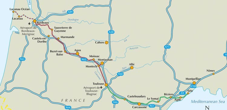 Canal du Midi map cycling