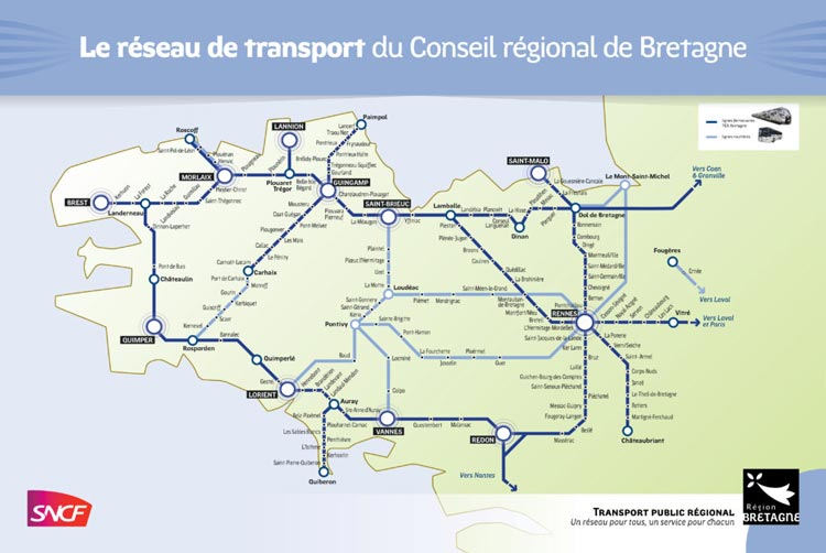 Brittany train map