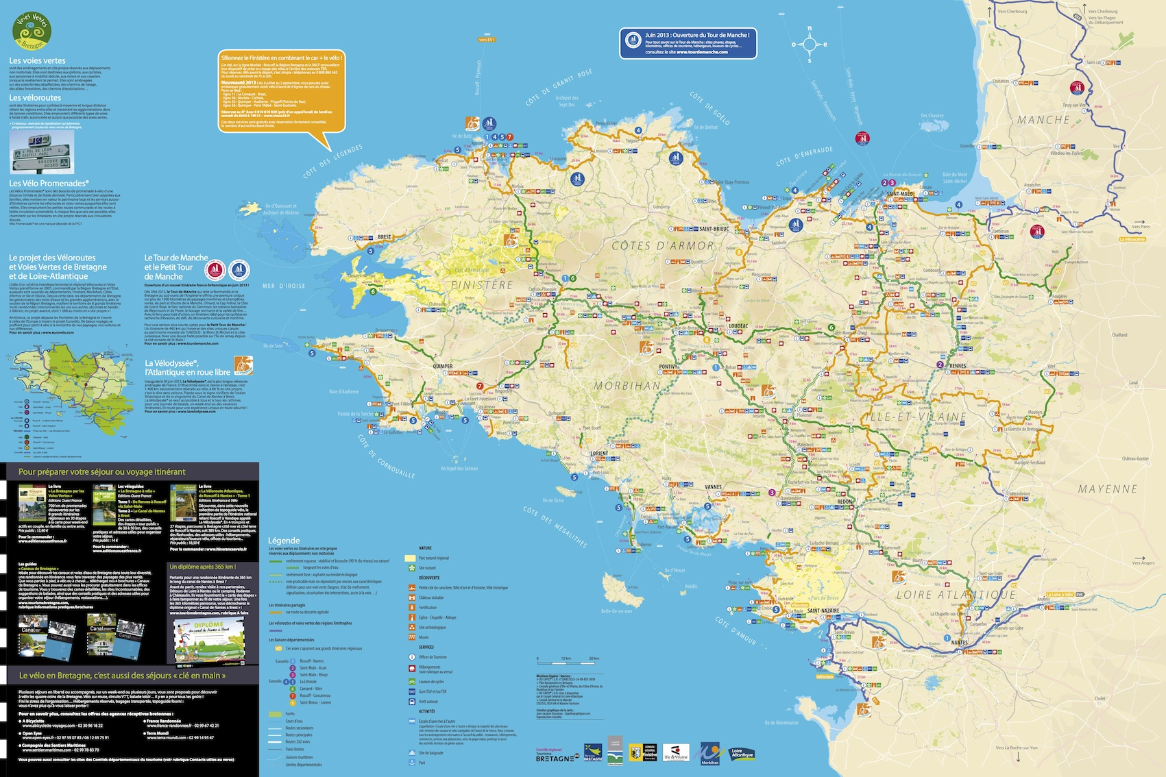 Brittany On Map Of France.Map Of Bike Routes And Voies Vertes In Brittany Freewheeling France