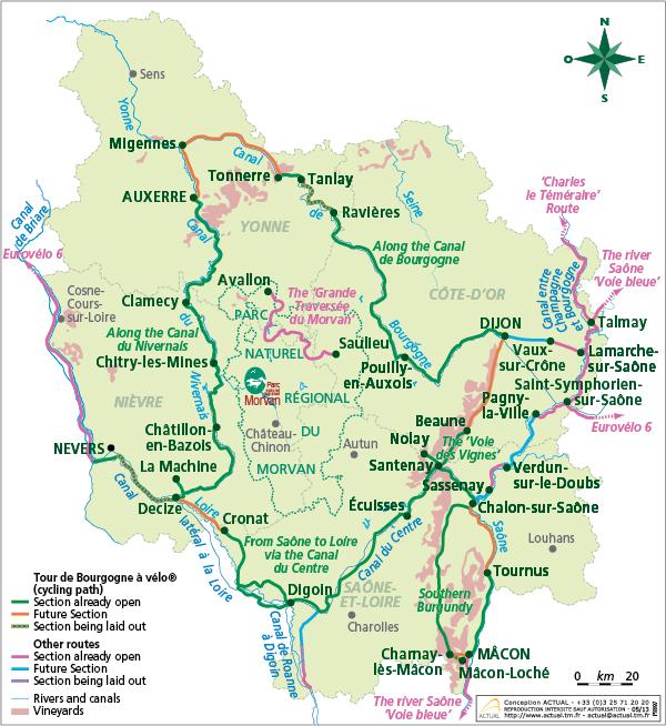 Canal De Bourgogne Carte.Cycling In Burgundy Freewheeling France