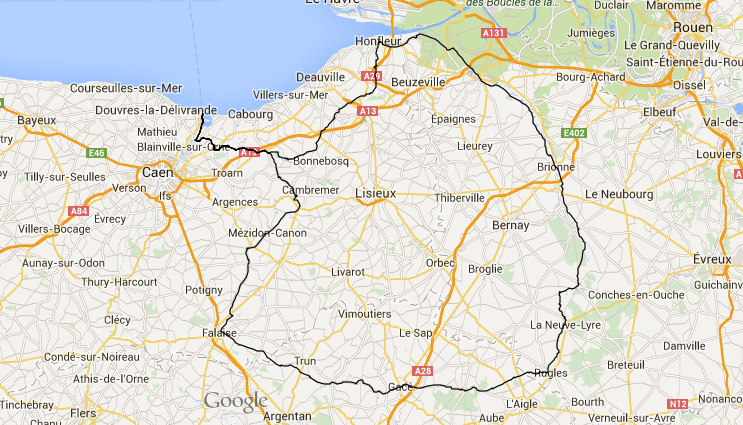 Caen Bike Route