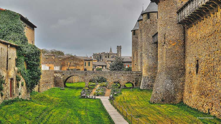 The fortified walls of Carcassonne