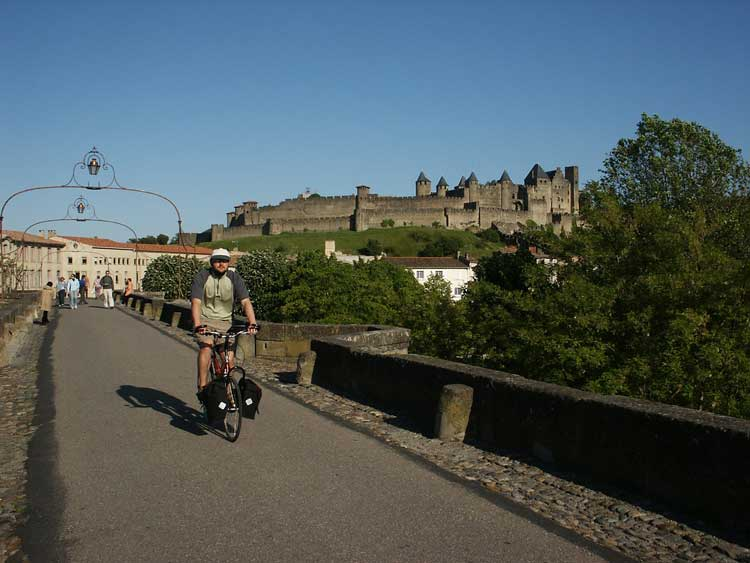 Riding past Carcassonne on the Canal du Midi
