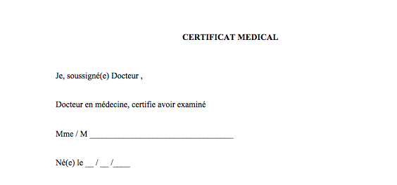 Medical certificate sports france
