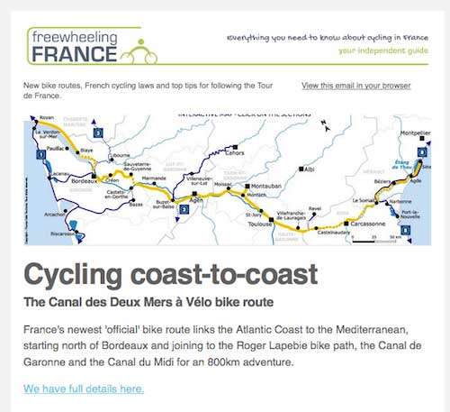 Cycling in France newsletter