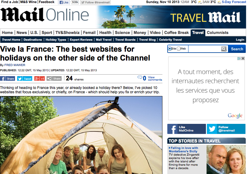 Daily Mail best French holiday websites