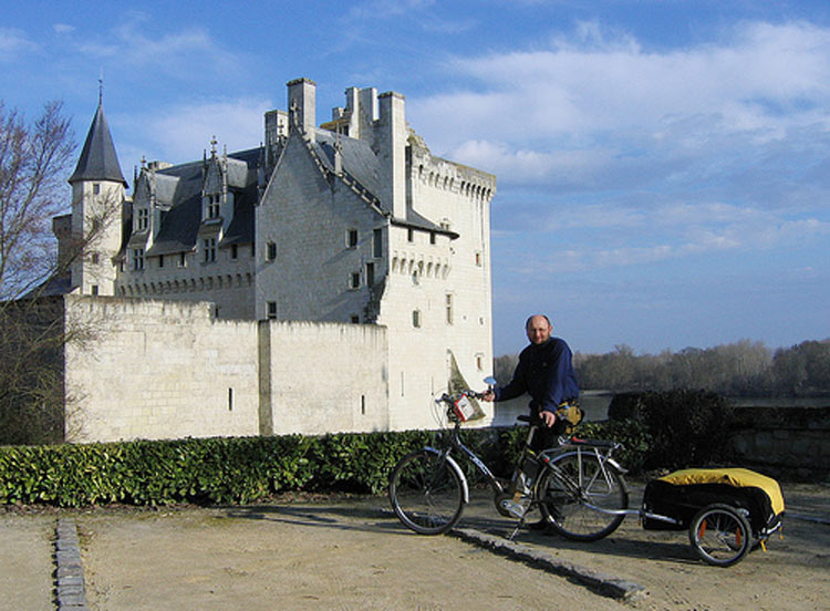 Electric bikes are great for pulling touring loads. This one is pictured at Montsoreau on the Loire. Photo: Richard Peace/Electric Bicycles