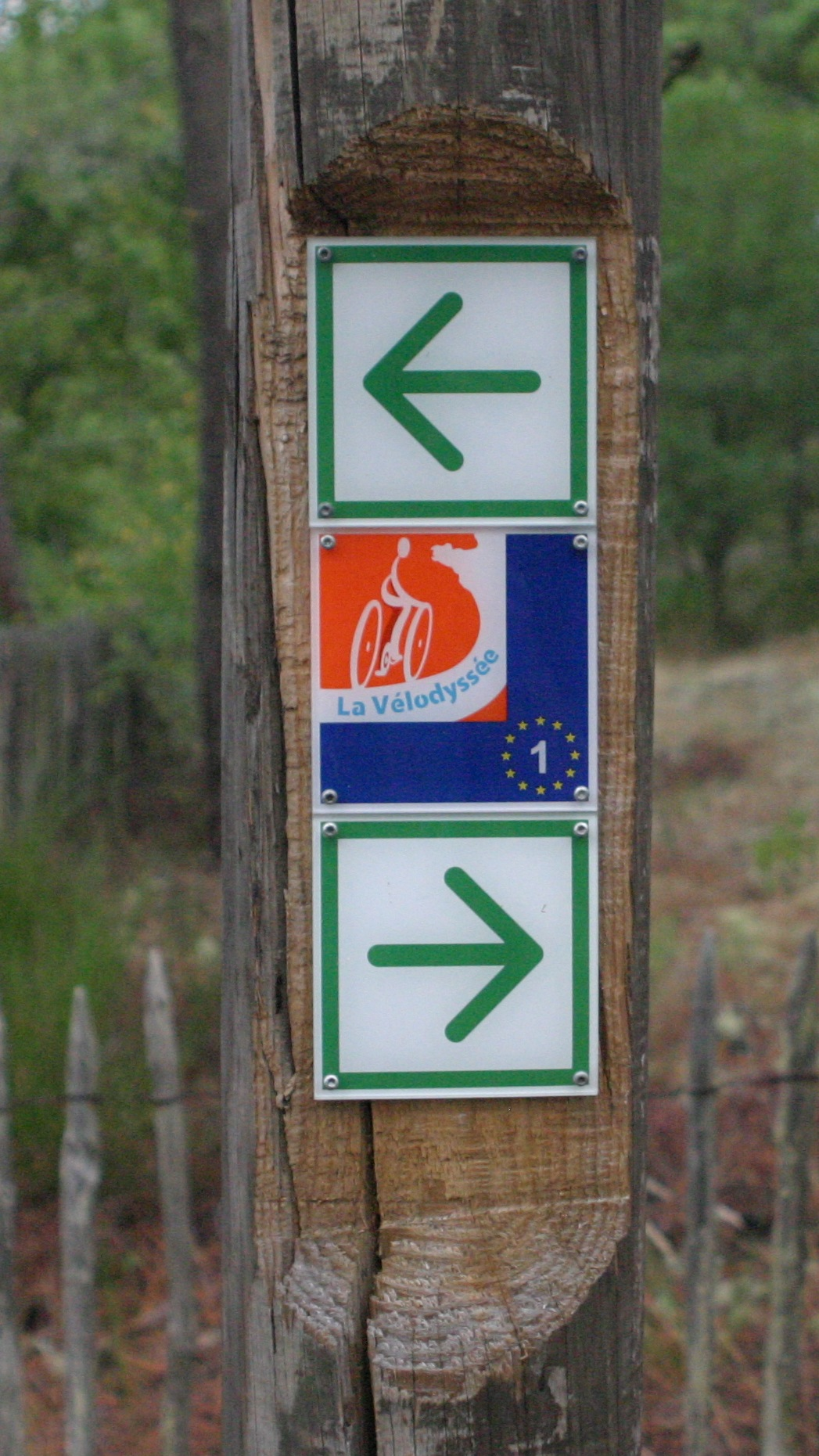 Signage for the Eurovelo 1 La Vélodyssée bike route that follows the Atlantic Coast