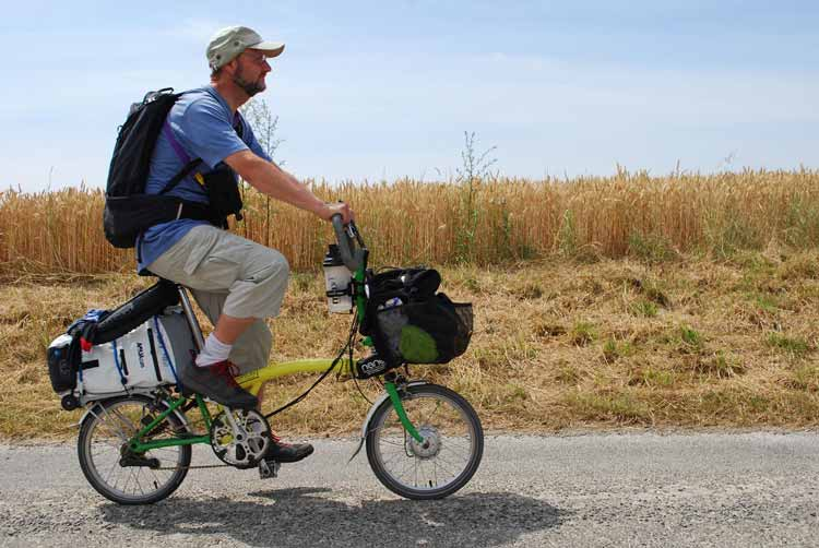 Cycle touring with a folding electric bike.