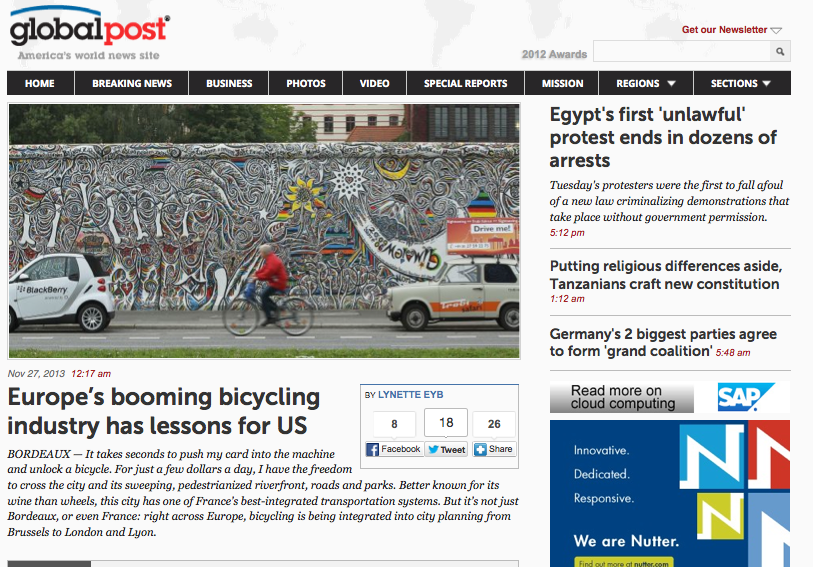 Global Post Europen cycling boom