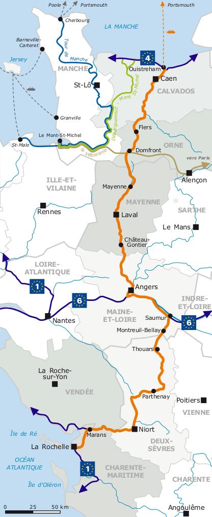 La Vélo Francette bike route from Caen to La Rochelle