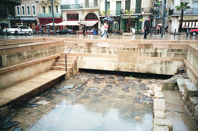 The remains of the Via Domitia Roman road in Narbonne's main square. Photo: Aslak Raanes