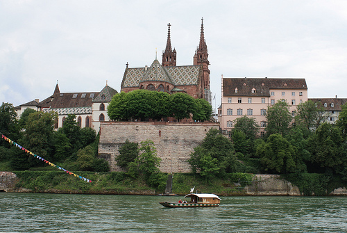 Basel cathedral and cable ferry. Photo: Mike Wells