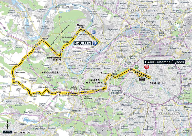 2018 Tour de France in Paris map