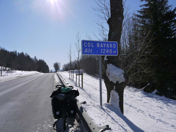On the road in a cold and snowy France. Photo: Steve Fabes/Cyclingthe6