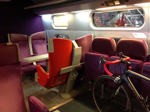 Bikes on a TGV train in france
