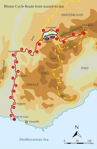 Rhone cycle route designated the eurovelo 17