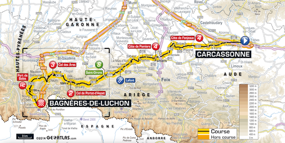 Stage 16 - 237.5km from Carcassonne to Bagnères-de-Luchon, Tuesday, July 22