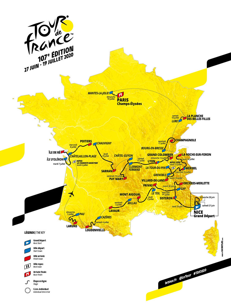 Route of the Tour de France 2020