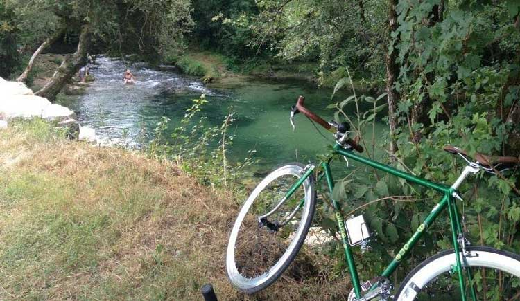 Swimming in Dordogne after cycling