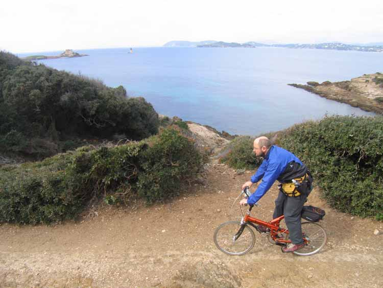 Cycling the Western Route on Porquerolles.