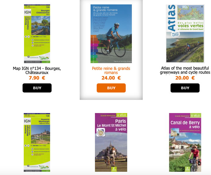 French-language cycling guidebooks and maps