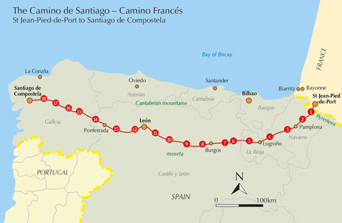 The cycle route for Camino de Santiago
