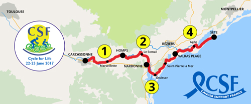 Map for 2017 Cycle for Life route through the Occitanie