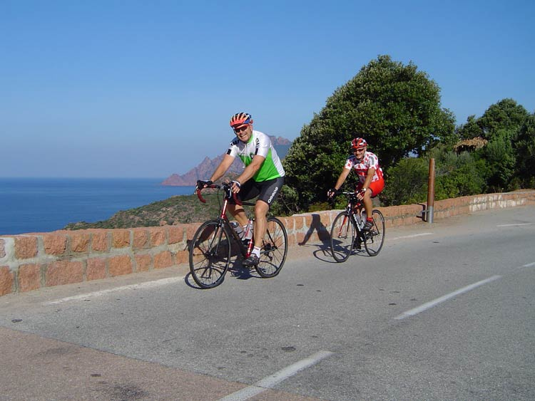 Cycling in Corsica on the scenic the coastal road. Photo: Europe Active