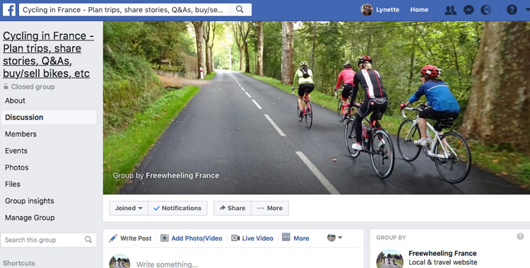 Join our cycling in France Facebook group