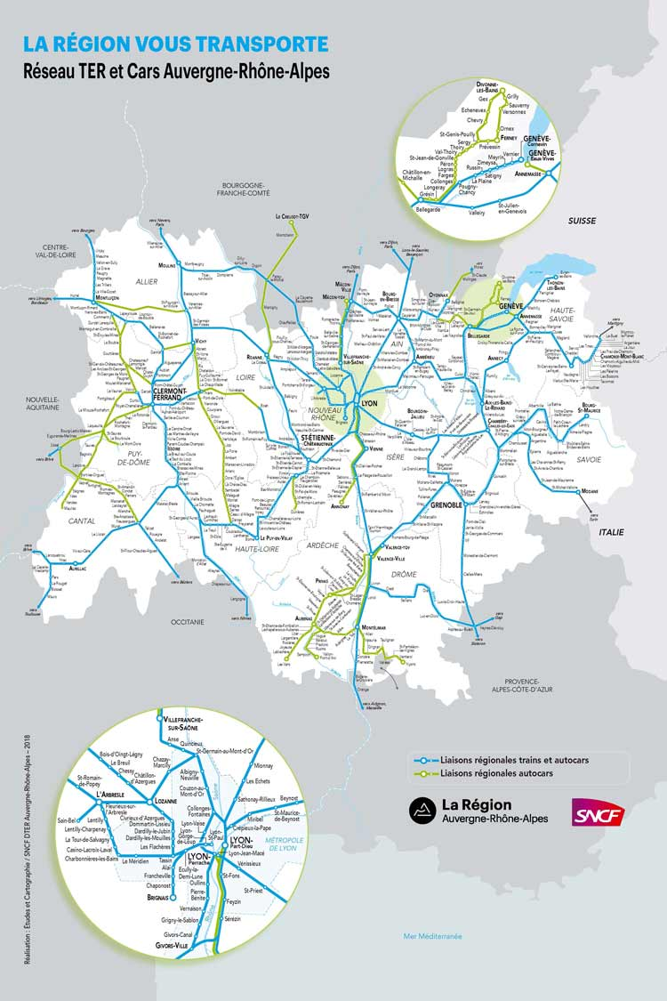 French Alps bus and train map