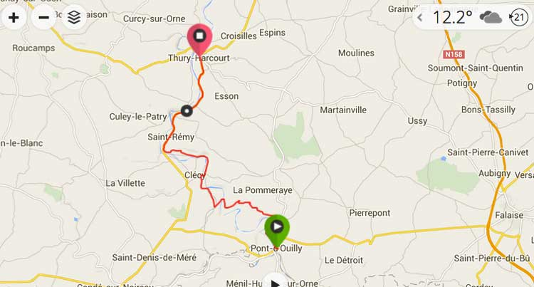 map cycling to caen